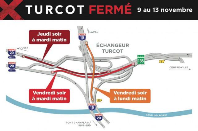 Trains de banlieue gratuits, lignes d'autobus déroutées, titres de transport... (Pour plus d'information Twitter @MTQ_Turcot)