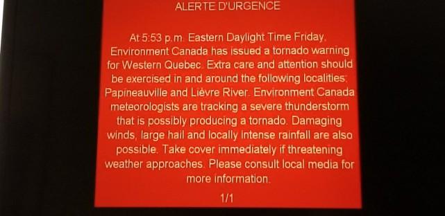 Le 21 septembre une alerte a été diffusée... (PHOTO TIRÉE DE TWITTER)