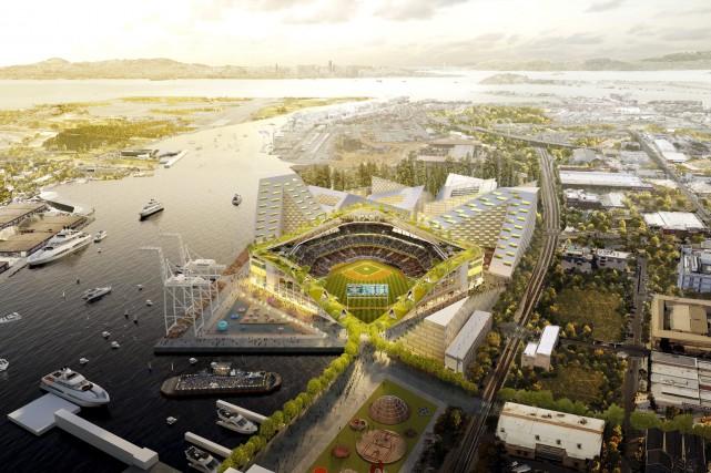 Les Athletics d'Oakland ont trouvé un site pour leur futur stade de baseball,... (Photo Bjarke Ingels Group, AP)