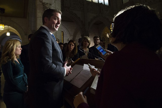 Le chef conservateur Andrew Scheer lors d'une période... (Photo Adrian Wyld, archives PC)