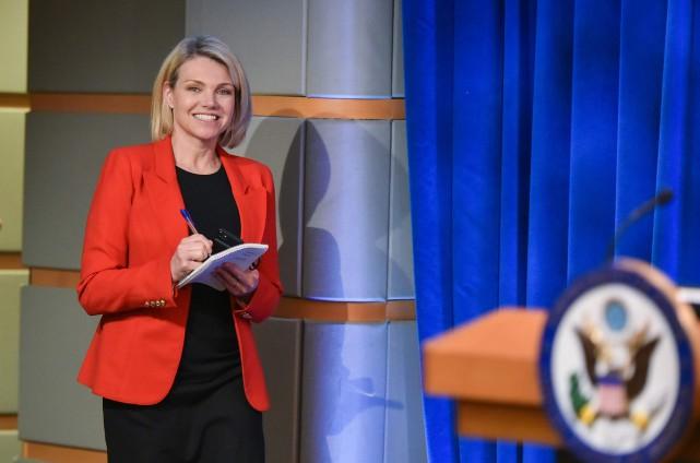 La porte-parole du département d'État américain, Heather Nauert... (Photo MANDEL NGAN, archives AFP)