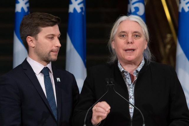 ManonMassé,chef parlementaire de Québec solidaire, et GabrielNadeau-Dubois, leader... (Photo Jacques Boissinot, LA PRESSE CANADIENNE)