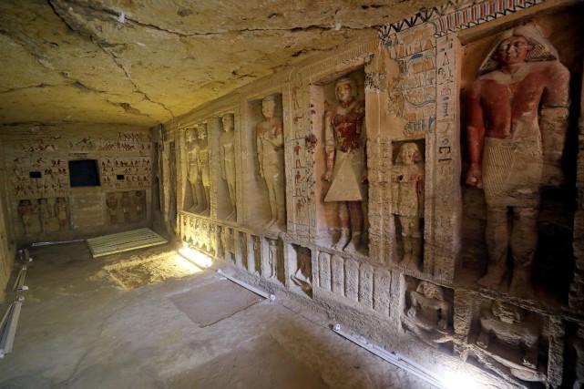 La tombe contient notamment des «scènes montrant le... (Photo MOHAMED ABD EL GHANY, REUTERS)