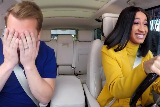 James Corden et Cardi B dans le Carpool... (Photo tirée d'une vidéo)