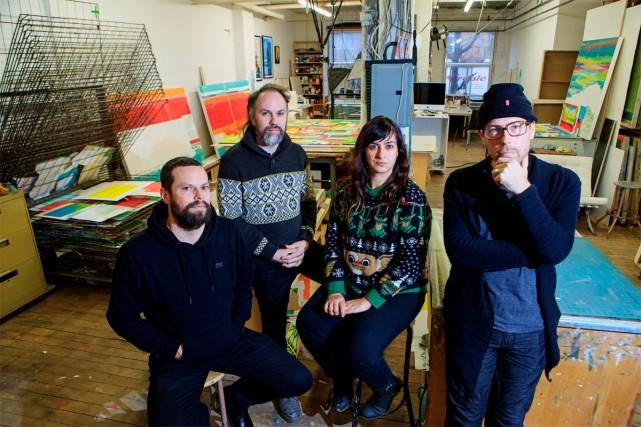 Les artistes Jason Cantoro, Jonathan Villeneuve, Dominique Pétrin... (Photo Alain Roberge, La Presse)
