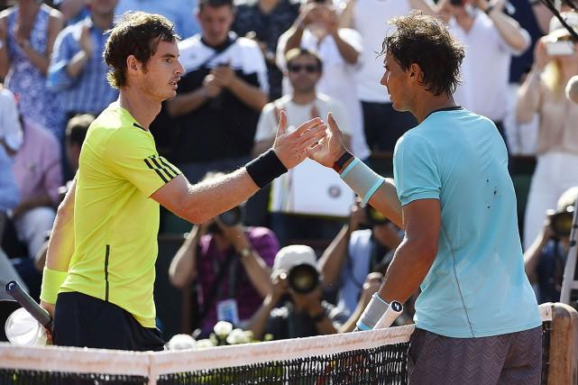 Andy Murray et Rafael Nadal en juin2014... (Photo DOMINIQUE FAGET, archives Agence France-Presse)