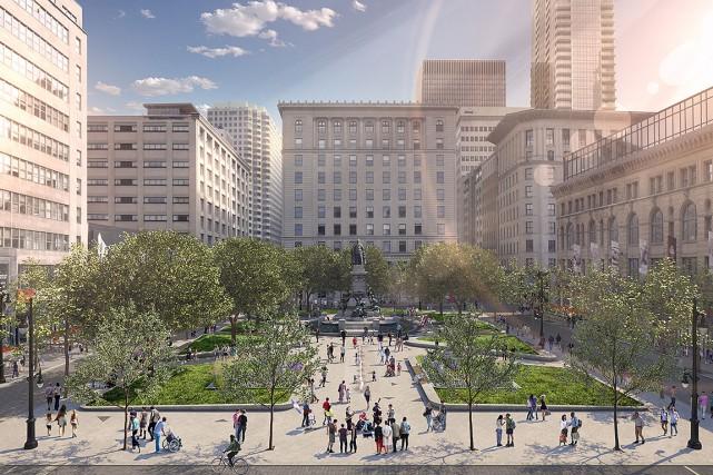 La taille du square Phillips passera de 2300m2... (Photo fournie par la Ville de Montréal)