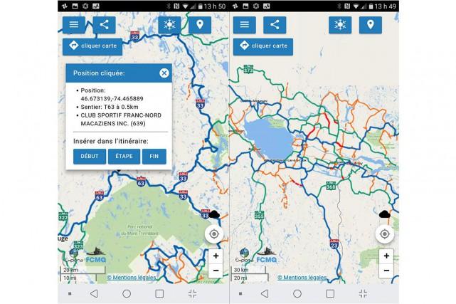 L'application iMotoneige est développée par la Fédération des... (Capture d'écran de l'application)