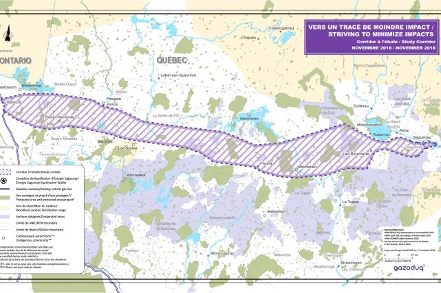 Le corridor proposé pour le gazoduc, entre l'Ontario... (IMAGE TIRÉE DU SITE DE GAZODUQ)