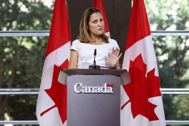 La ministre des Affaires étrangères, Chrystia Freeland, a... (PHOTO CHRIS WATTIE, REUTERS)