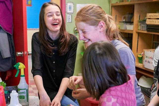 Les élèves de l'école Louis-de-France, à Trois-Rivières, ont... (PHOTO ANDRÉ PICHETTE, LA PRESSE)