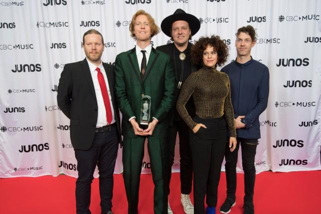Les membres d'Arcade Fire au gala des Juno... (PHOTO JONATHAN HAYWARD, ARCHIVES LA PRESSE CANADIENNE)