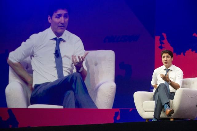 Justin Trudeau a prononcé le discours d'ouverture de... (PHOTO CHRIS YOUNG, LA PRESSE CANADIENNE)