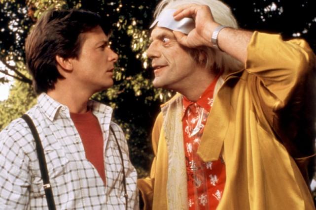 Michael J. Fox et Christopher Lloyd dans une... (PHOTO ARCHIVES LA PRESSE CANADIENNE)