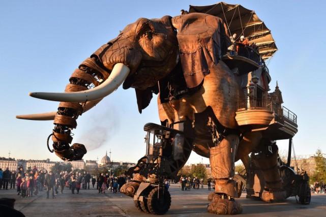 Un éléphant mécanique, fait de bois et d'acier,... (PHOTO FOURNIE PAR LES MACHINES DE L'ÎLE)