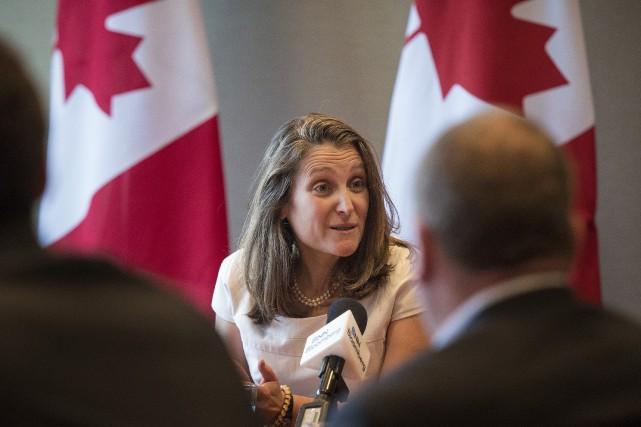 La ministre des Affaires étrangères, Chrystia Freeland, a... (PHOTO TIJANA MARTIN, LA PRESSE CANADIENNE)
