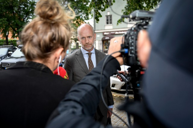 Henrik Olsson Lilja, l'avocat suédois d'ASAP Rocky, a... (PHOTO STINA STJERNKVIST, AP)