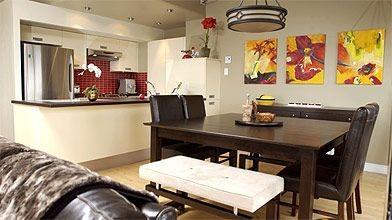 La cuisine offre une continuité de style avec...