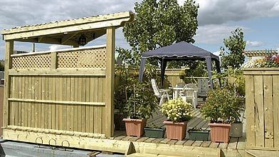 Une terrasse en bois trait en c dre ou en plastique for Galerie et patio