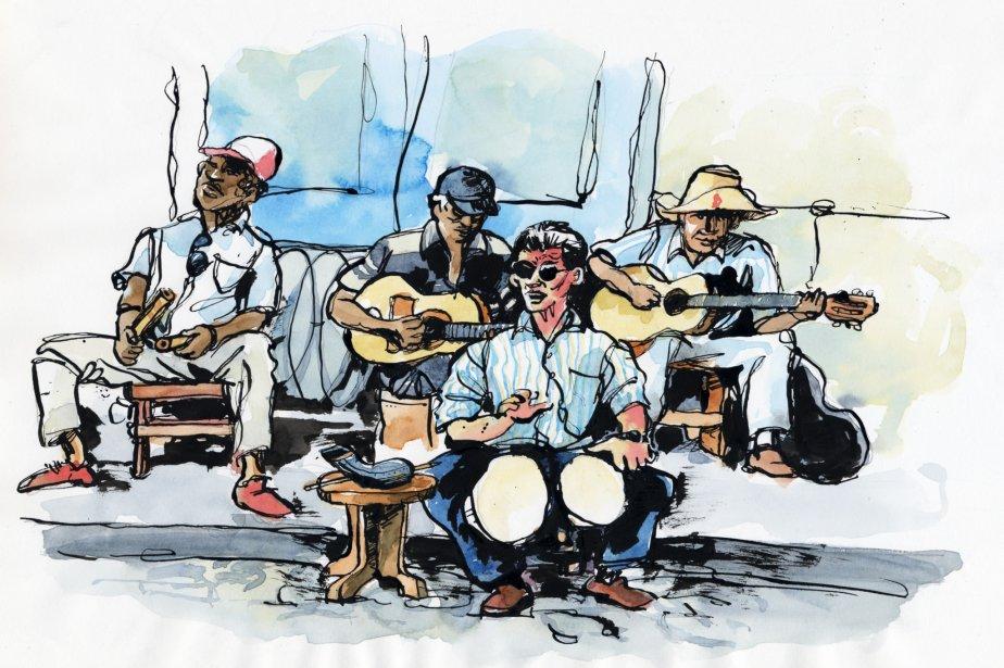 Un de mes rares essais à l'encre; la plupart des oeuvres ont été réalisées à l'aquarelle. La musique est omniprésente à Cuba. | 1 mars 2011