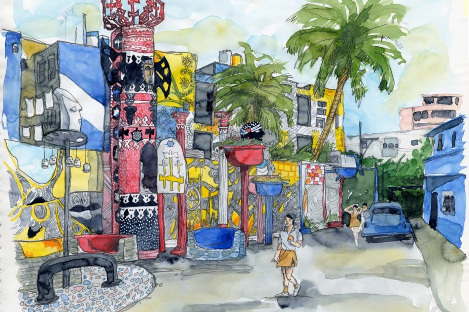 Voici à quoi ressemble l'ensemble de l\'oeuvre de Salvador sur la célèbre Callejon de Hamel. Un bric-à-brac de sculptures faites de pièces de métal recyclées, une place aménagée pour les célébrations de la Santeria avec des moyens de fortune et des peintures naïves très colorées sur tous les immeubles de l'avenue. | 1 mars 2011