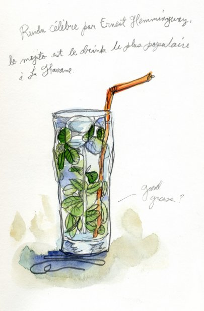 Rendu célèbre grâce à Hemingway, le mojito est incontournable à la Havane. Luis, un de mes guides improvisé, m'avait dit que la plante que contenait le drink s'appelait «good grass». Que si on avait mal au ventre, on pouvait en manger un peu. Du bout des dents, l'ai goûté une feuille pour découvrir qu\'il s\'agissait de menthe sauvage. | 1 mars 2011
