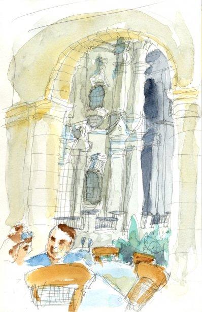 La cathédrale sur la playa du même nom est du style baroque. Elle a cruellement besoin de rénovation mais elle est plutôt jolie. Juste à côté, il y a un restaurant tout à fait charmant: le El Patio. Attablé à la terrasse, j'ai mangé des calmars à la sauce au citron et, sur une échelle cubaine, ils étaient très bons. | 1 mars 2011