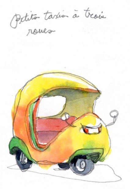 De minuscules triporteurs colorés transportent les voyageurs à moindre coût que les taxis habituels. Une bonne bouffée de gaz carbonique en perspective. | 1 mars 2011