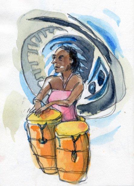 Tous les dimanches, c'est la fête sur Callejon de Hamel. Les musiciens abondent à Cuba et, même amateurs, les orchestres sont parfois très bons. | 1 mars 2011