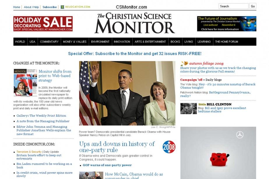 La page d'accueil du Christian Science Monitor...