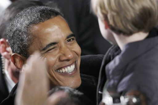 Barack Obama tape un clin d'oeil à un... (Photo: AP)