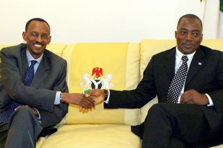 Les présidents congolais Joseph Kabila et rwandais Paul... (Photo: AFP)