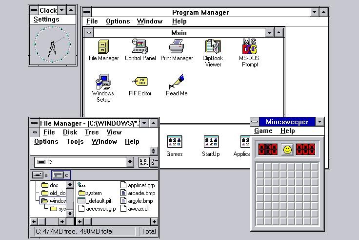 Une capture d'écran de Windows 3.11...