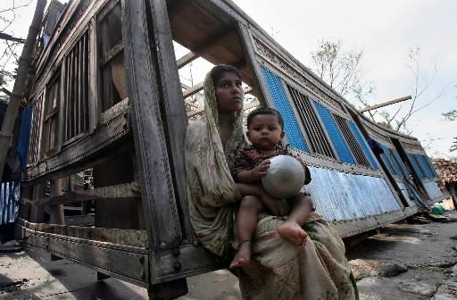 Des rescapés du cyclone.... (Photo: AFP)