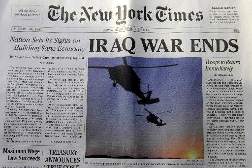 Un faux New York Times daté du 4... (Photo: AFP)