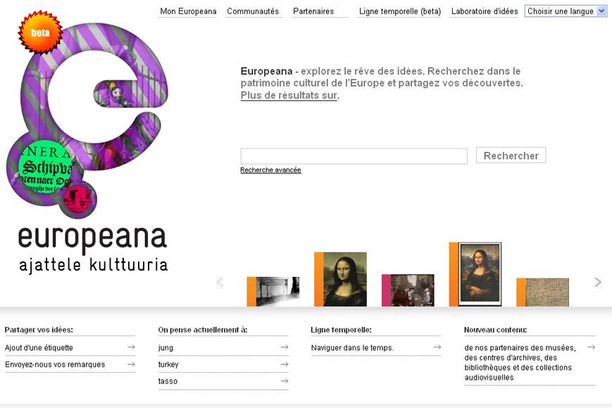 La page d'accueil d'Europeana...