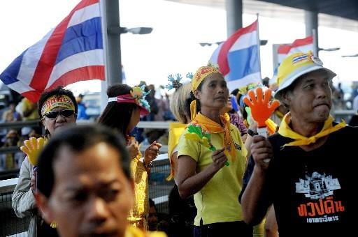 Des manifestants ont assiégé l'aéroport de Bangkok.... (Photo: AFP)
