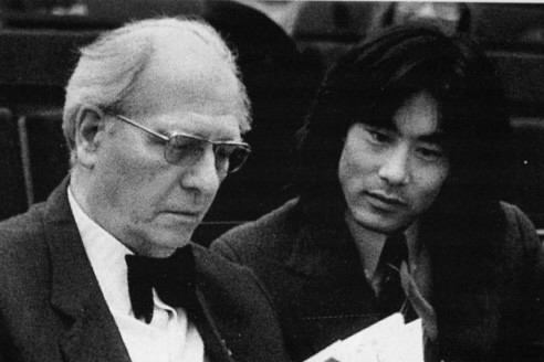 Messiaen et le jeune Kent Nagano à 34... (Photo: archives La Presse)