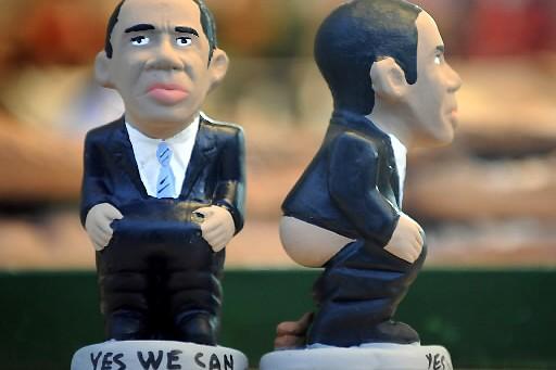 Les innombrables produits dérivés Obama pourraient se retrouver... (Photo: AFP)