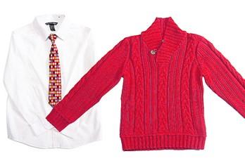 Chez H&M, les ensembles chemise-cravate sont populaires au temps des Fêtes....