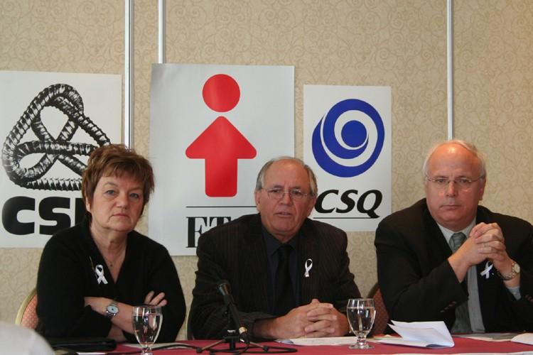Claudette Carbonneau, présidente de la CSN, René Roy,...