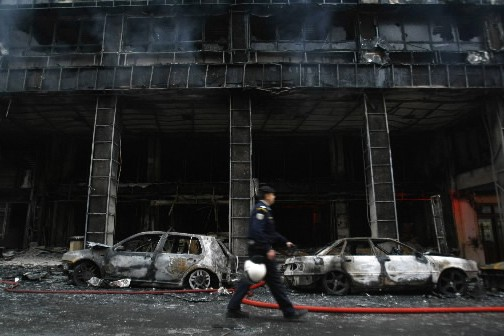 La façade de ce commerce a complètement été... (Photo: Reuters)