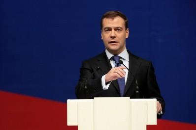Le président russe Dmitri Medvedev a prononcé un... (Photo: AFP)