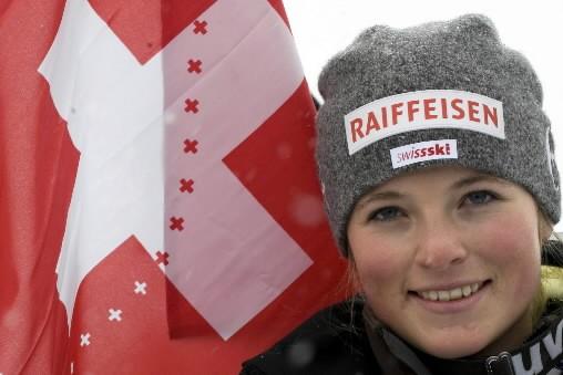 Avec l'insolence de ses 17 printemps, la Suissesse Lara Gut a... (Photo: AFP)