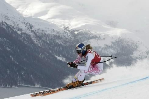 La descente de St-Moritz, comptant pour la Coupe du monde... (Photo: AFP)