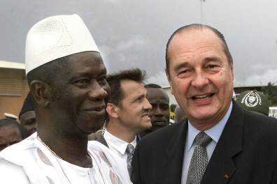 Lansana Conte avec Jacques Chirac... (Photo: Reuters)