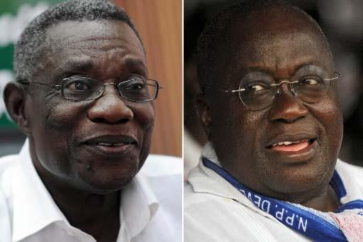 John Attah Mills et Nana Akufo-Addo, candidats à... (Photo: AFP)