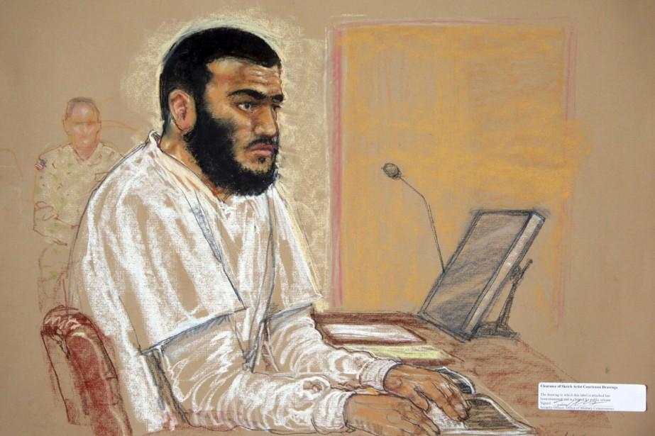 Omar Khadr pendant son procès à la base... (Photo Reuters)