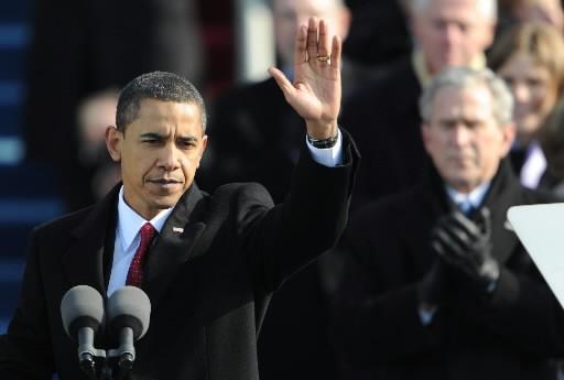 Barack Obama lors de son discours d'investiture.... (Photo: AFP)