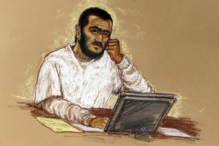 Un croquis d'Omar Khadr réalisé durant une audience... (Photo: Reuters)